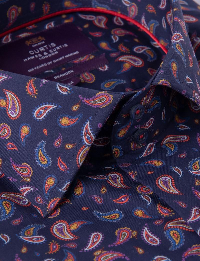 Men's Curtis Navy & Red Mini Paisley Print Relaxed Slim Fit Shirt – Medium Collar