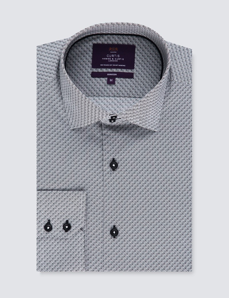 Men's Curtis White & Black Zigzag Geometric Print Relaxed Slim Fit Shirt – Medium Collar