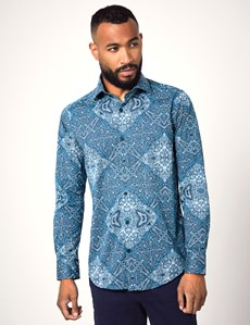 Men's Curtis Teal & Blue Paisley Print Slim Fit Shirt - Single Cuff