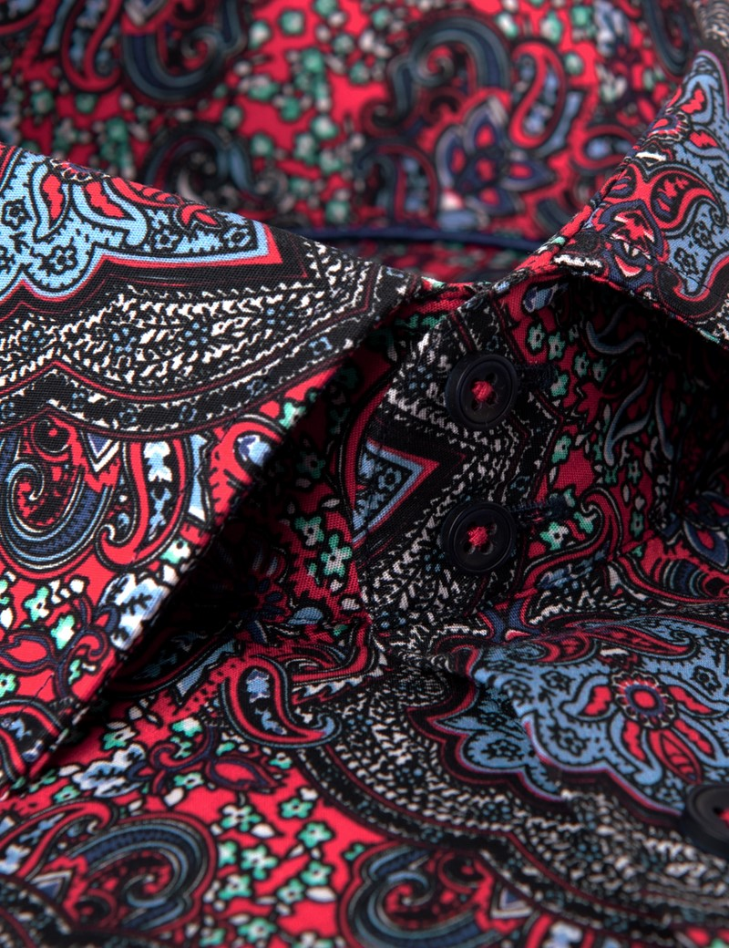 Men's Curtis Red & Blue Paisley Slim Fit Shirt - Single Cuff