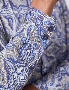 Men's Curtis Blue Green & White Paisley Slim Fit Shirt - Single Cuff