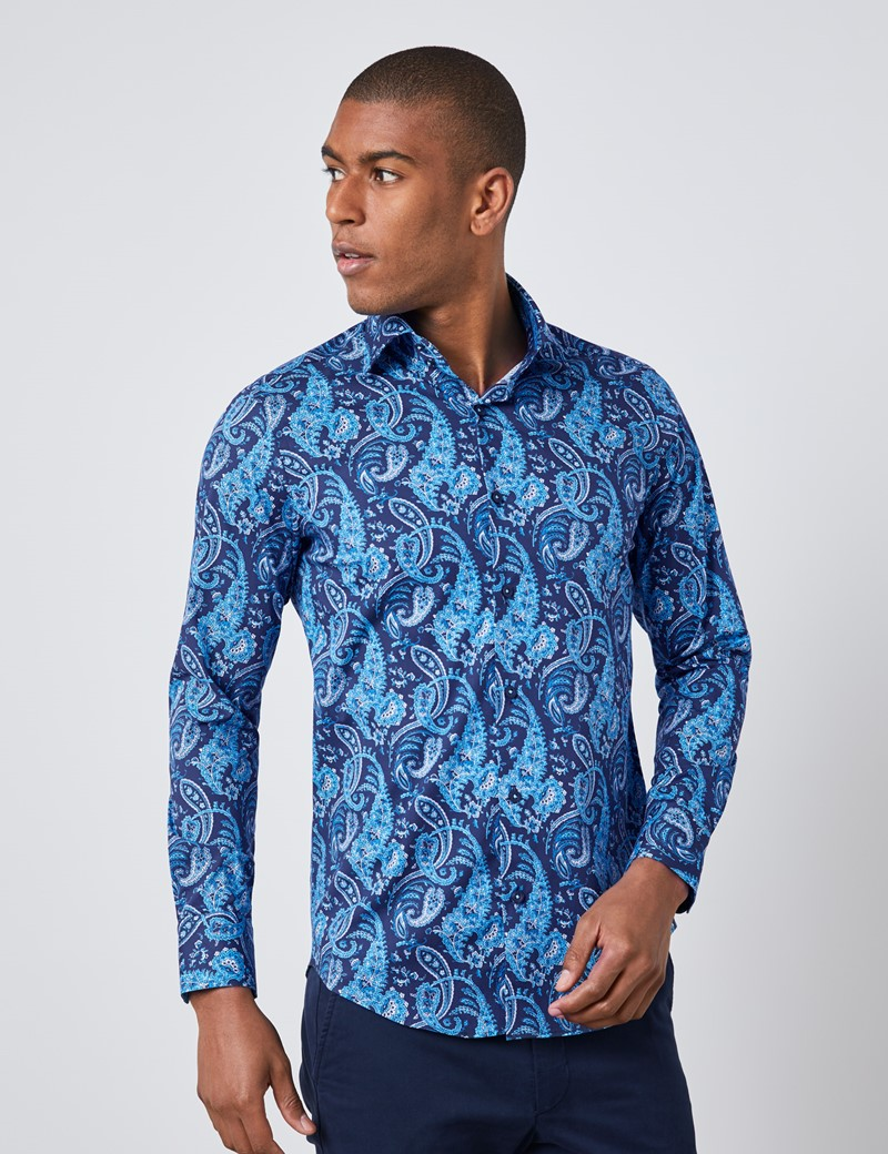 Men's Curtis Navy & Blue Paisley Slim Fit Shirt - Single Cuff