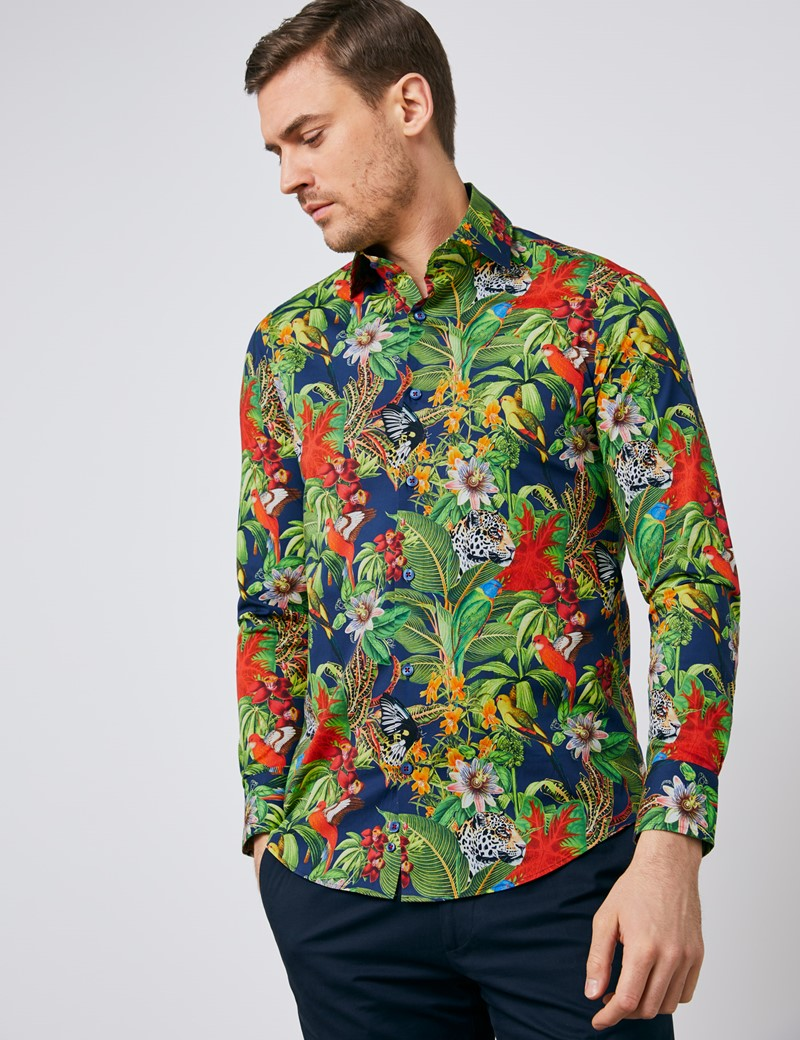 Men's Curtis Navy & Green Jungle Print Slim Fit Shirt - Single Cuff