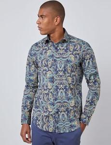 Men's Curtis Navy & Yellow Paisley Slim Fit Shirt - Single Cuff