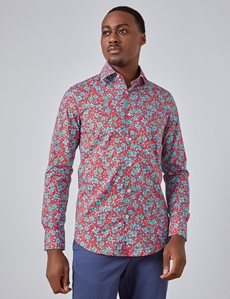 Men's Curtis Red & Teal Floral Slim Fit Shirt - Single Cuff