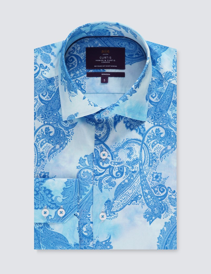 Men's Curtis Light Blue & Blue Paisley Stretch Slim Fit Shirt - Single Cuff