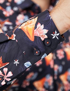 Men's Curtis Navy & Orange Birds and Floral Print Stretch Slim Fit Shirt - Single Cuff