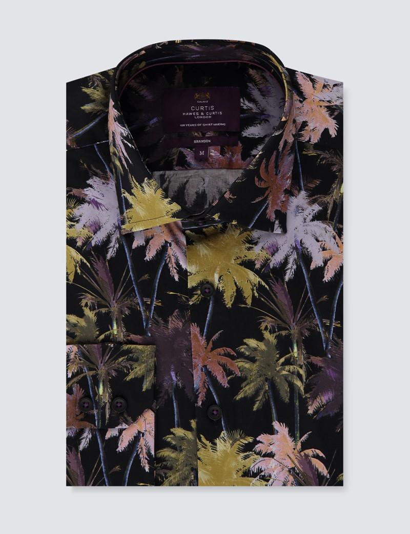 Men's Curtis Black & Purple Floral Stretch Slim Fit Shirt - Single Cuff
