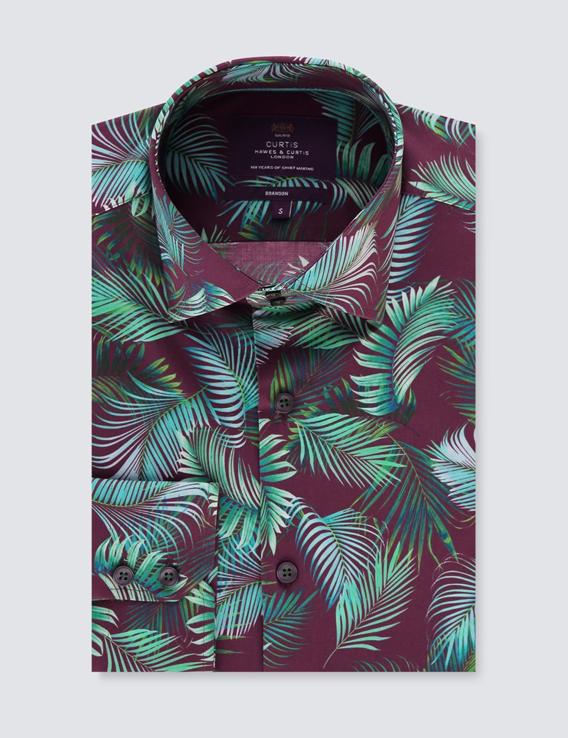 Men's Curtis Wine & Green Palm Leaves Stretch Slim Fit Shirt - Single Cuff