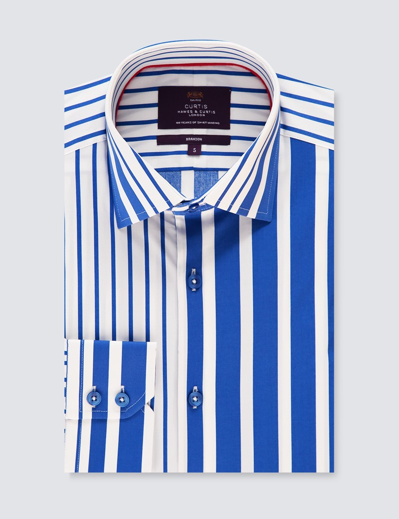 Men's Curtis White & Blue Printed Stripes Stretch Slim Fit Shirt - Single Cuff