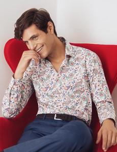 Men's Curtis White & Orange Multi Paisley Stretch Slim Fit Shirt - Single Cuff