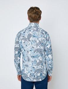 Casual Stretchhemd - Stretch Slim Fit - Hoher Kragen - weiß blau Paisley