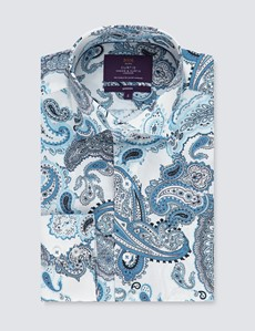 Men's Curtis White & Blue Paisley Cotton Stretch Slim Fit Shirt - Single Cuff