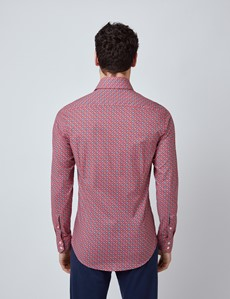Men's Curtis Red & Green Geometric Print Relaxed Slim Fit Shirt – Single Cuffs