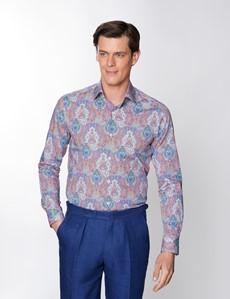 Men's Curtis Red & Orange Paisley Print Stretch Slim Fit Shirt - Medium Collar