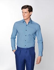 Men's Curtis Blue & Navy Geometric Print Relaxed Slim Fit Shirt – Single Cuffs
