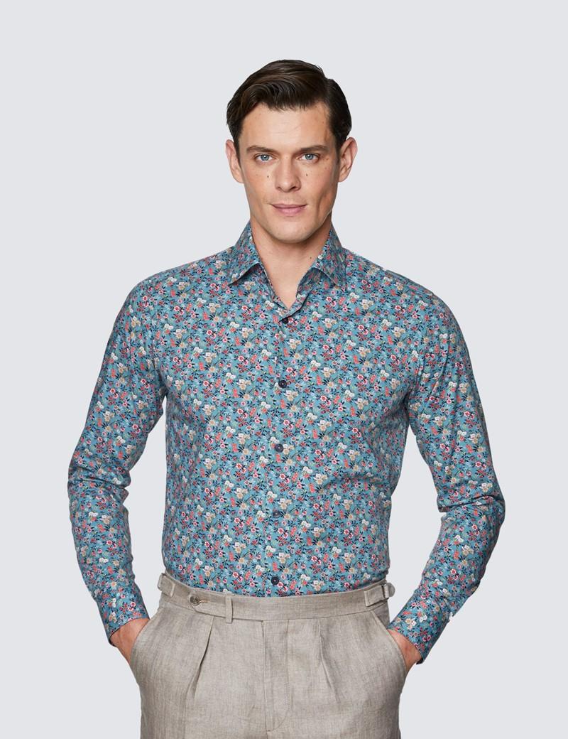 Men's Curtis Light Blue & Pink Ditsy Print Stretch Slim Fit Shirt - Medium Collar