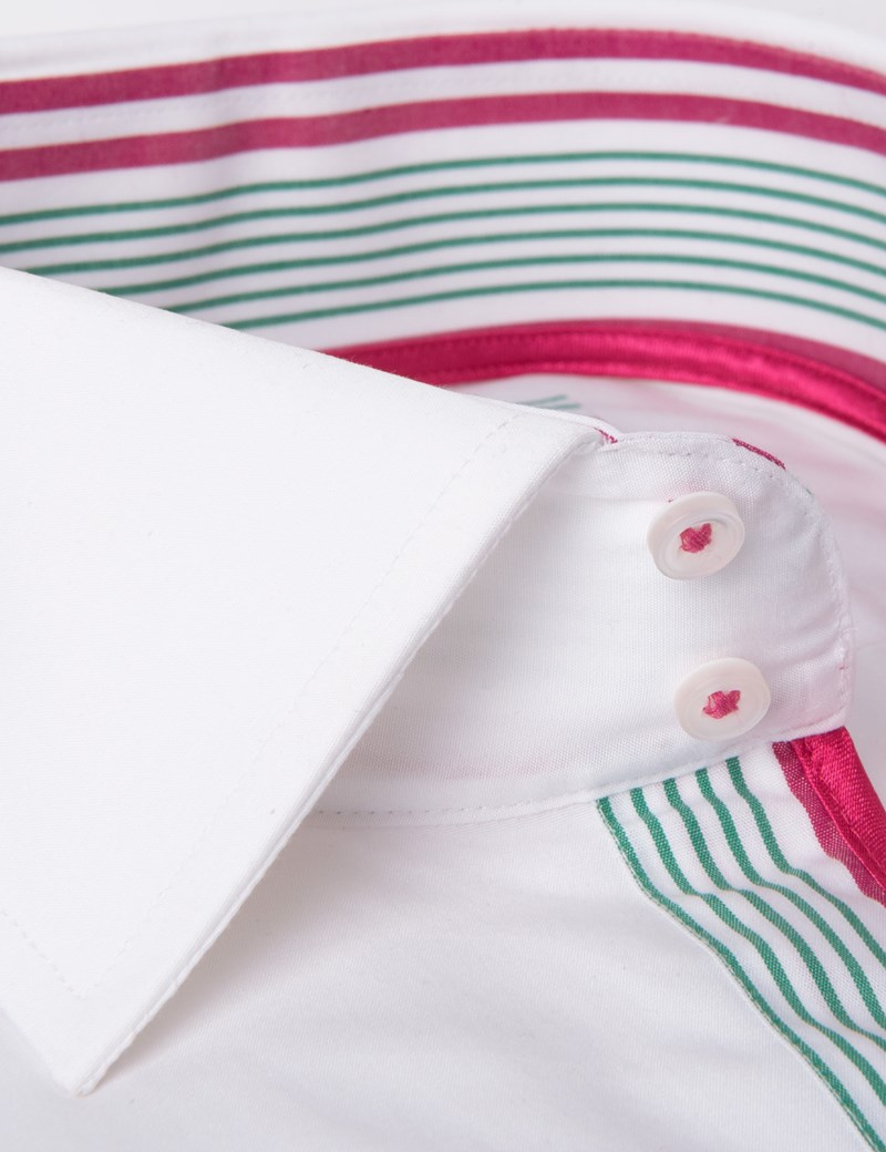 Men's Curtis White & Pink Slim Fit Shirt With Contrast Detail - Single Cuff