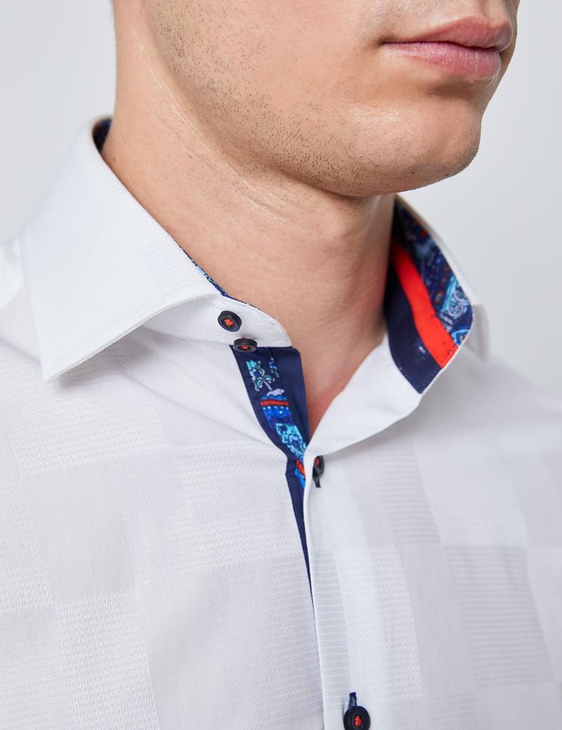Casualhemd – Slim Fit – Geometrisches Jacquard Muster Weiß – Paisley Kontraste