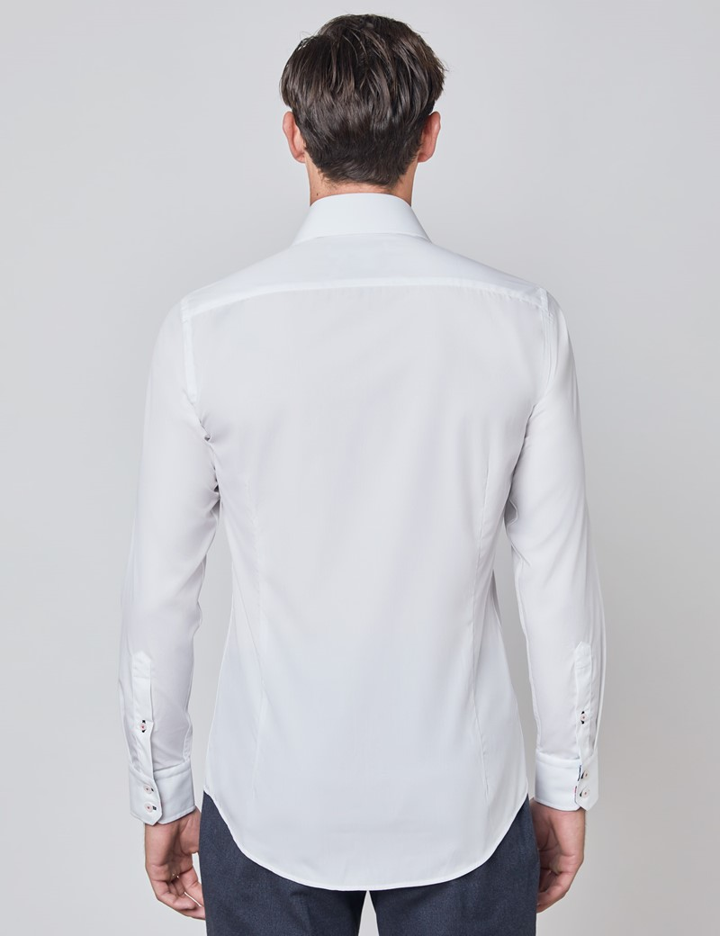 Men's Curtis White Relaxed Slim Fit Shirt With Contrast Details - Single Cuff
