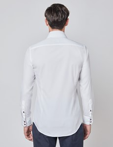 Men's Curtis Plain White Relaxed Slim Fit Shirt With Contrast Details - Single Cuff