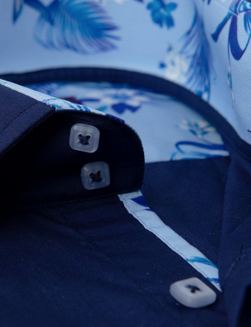 Casualhemd – Slim Fit – navy mit floralen Kontrasten