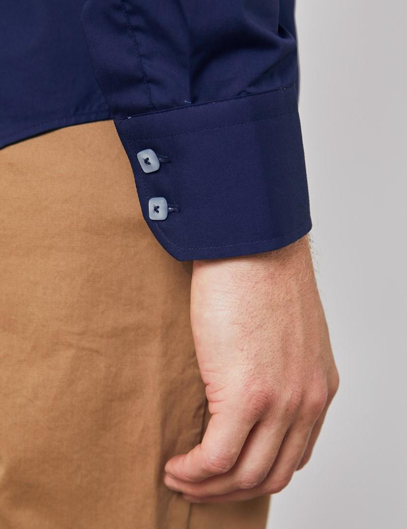 Men's Curtis Navy Brandon Plain Relaxed Slim Fit Shirt - Single Cuff