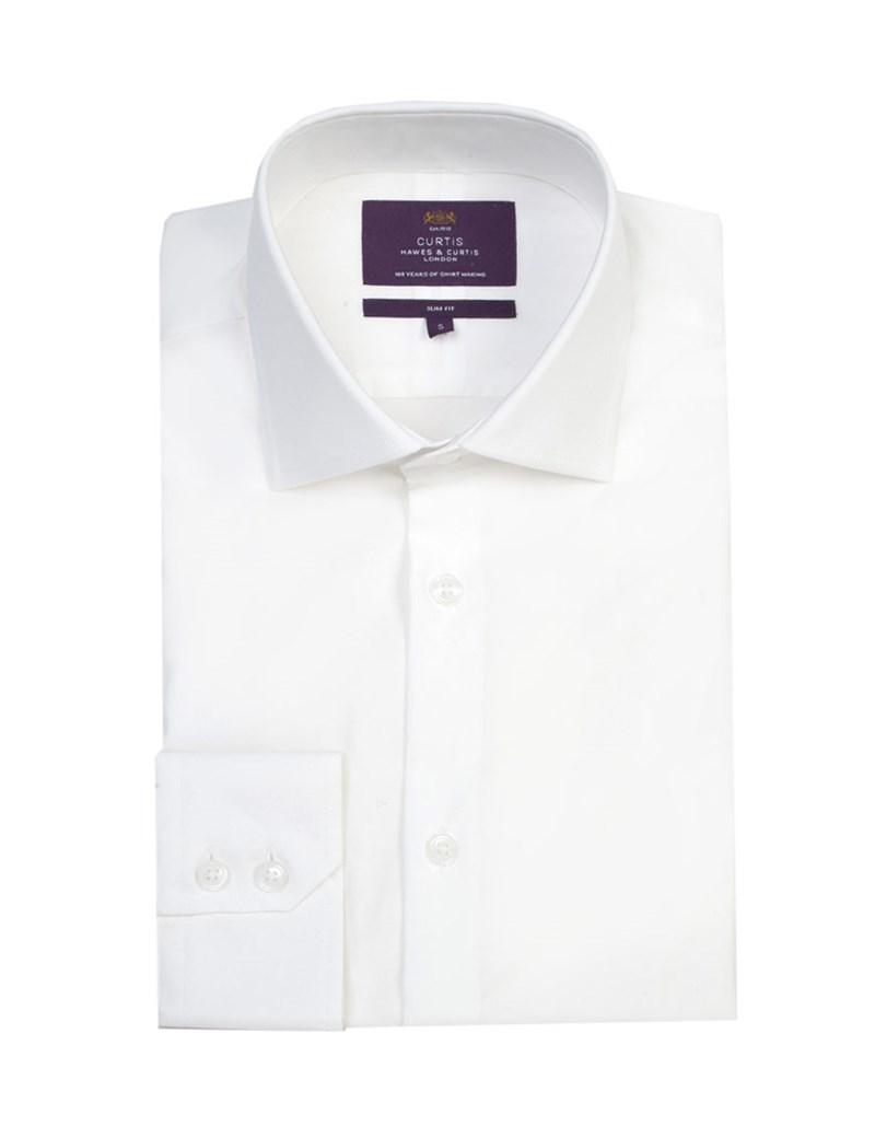 Men's Curtis White Poplin Slim Fit Shirt - Single Cuff