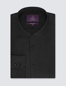 Men's Curtis Black Slim Fit Shirt - Single Cuff