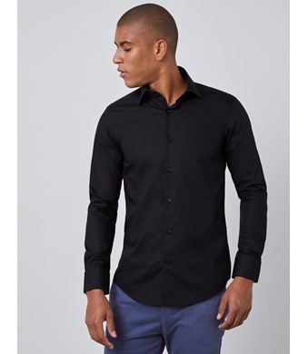 Men's Curtis Black Relaxed Slim Fit Shirt - Single Cuff