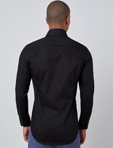 Men's Curtis Black Slim Fit Shirt - Single Cuff
