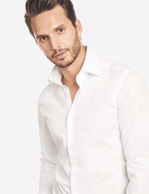 Men's Curtis White Slim Fit Shirt - Single Cuff