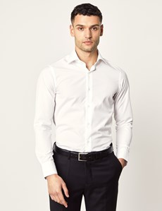 Men's Curtis White Slim Fit Shirt - Single Cuff
