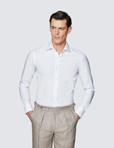 Men's Curtis White Relaxed Slim Fit Shirt - Single Cuff