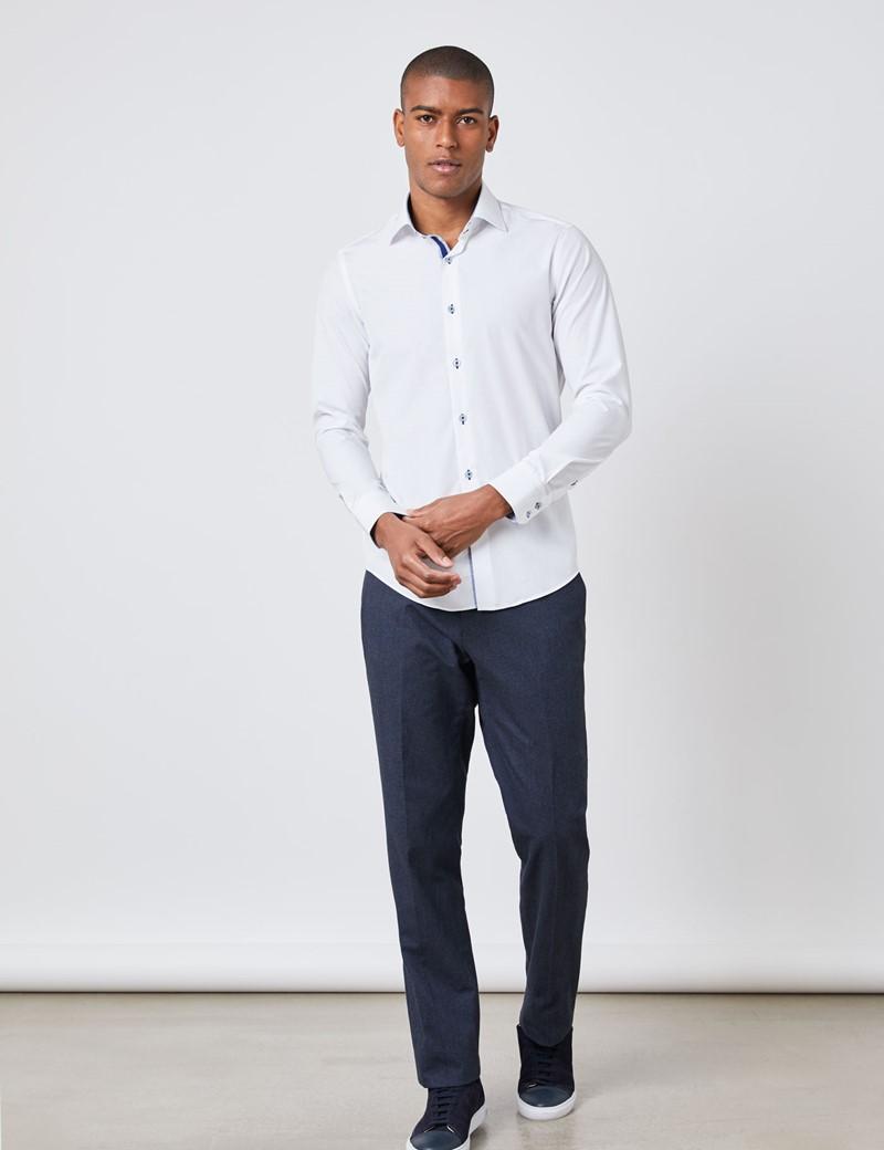 Casualhemd – Slim Fit – Kenktkragen – Weiß mit Highlights