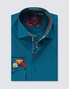 Men's Curtis Dark Turquoise Cotton Poplin Slim Fit Shirt With Contrast Detail - Single Cuff