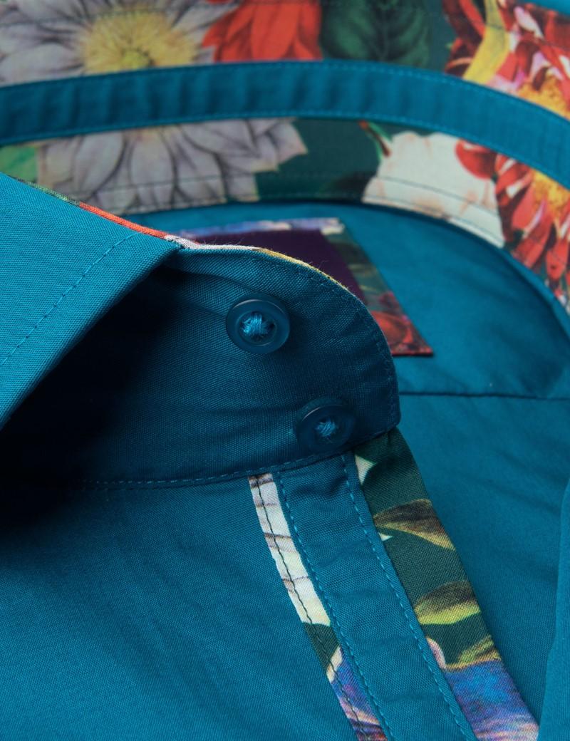 Casualhemd – Slim Fit – Kentkragen – türkis mit floralen Kontrasten