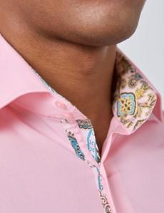 Casualhemd – Slim Fit – Kentkragen – rosa Popeline mit Paisley Kontrasten
