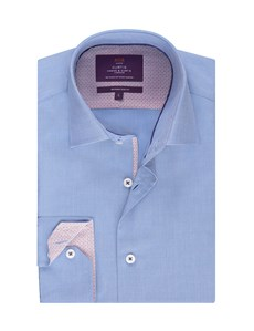 Men's Curtis Blue End on End Slim Fit Shirt With Contrast Detail - Single Cuff