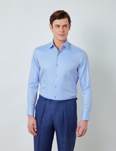 Men's Curtis Blue Herringbone Relaxed Slim Fit Shirt With Contrast Detail – Medium Collar
