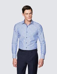 Men's Curtis Blue and White Stripe Slim Fit Cotton Shirt - Low Collar