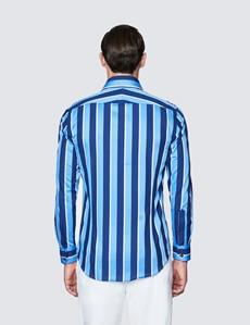 Men's Curtis Blue and Navy Stripe Slim Fit Cotton Shirt - Low Collar