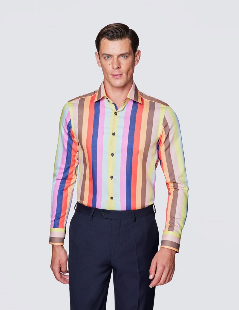 Men's Curtis Brown & Red Stripe Relaxed Slim Fit Cotton Shirt - Low Collar