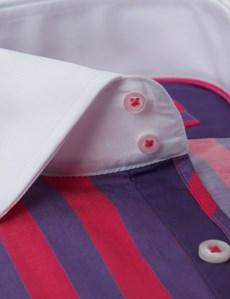 Men's Curtis Purple & Pink Bold Stripe Slim Fit Shirt  - Single Cuff