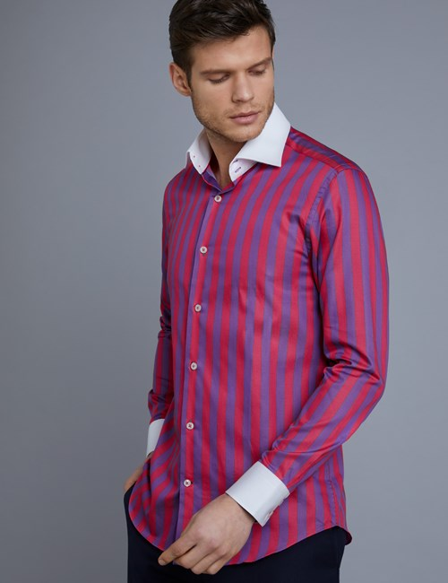 Men's Curtis Purple & Pink Bold Stripe Slim Fit Shirt  - Single Cuff