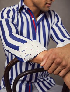 Men's Curtis Navy & White Bengal Stripe Slim Fit Shirt - Single Cuff