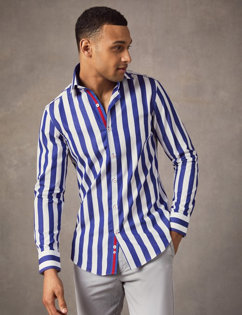 Men's Curtis Navy & White Bengal Stripe Slim Fit Shirt - Single Cuff