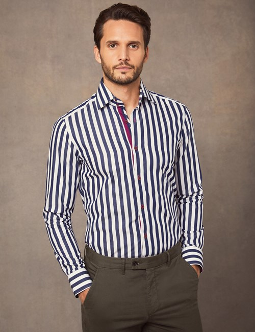 Men's Curtis Navy & White Medium Stripe Slim Fit Shirt - Single Cuff