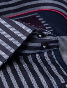 Men's Curtis Blue & Navy Bengal Stripe Slim Fit Shirt - Single Cuff