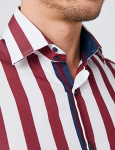Men's Curtis White & Burgundy Bold Stripe Slim Fit Shirt - Single Cuff
